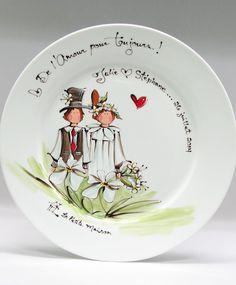 Assiette ronde : : Mariés *** Faites personnaliser votre cadeau. Produit peint à la main.