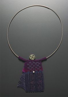 Necklace | Sandy Swirnoff.  'Japanese Lady'.  Knottted fiber, sterling silver head bead, pearl, sterling silver neckband.