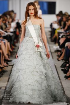 oscar de la renta wedding dress 2012 - light blue organza crystal embroidered gown and ivory silk satin jeweled sash with antique gold rose crystal earring