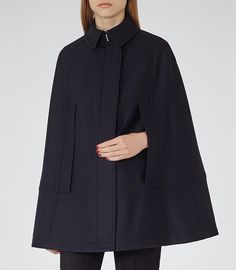 Reiss Night Navy Cavalier Wool-blend Cape-$495.00