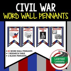 Civil War Movements Word Wall Pennants (American History)VISIT MY STORE AND FOLLOW TO GET UPDATES WHEN NEW RESOURCES ARE ADDED Early American History Word Wall BundleThis is a Civil War Word Wall Set that has 50 words included. Buy now and save $$$.