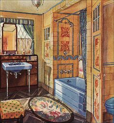 1930 Crane Bathroom – Blue & Mango   by American Vintage Home
