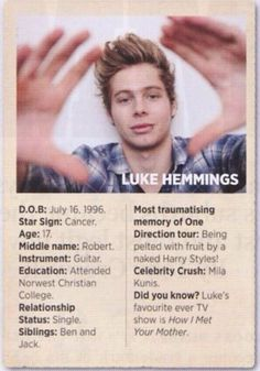 "Luke in Rolling Stones Australia... Bahahaha ""a naked harry styles"""