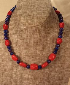 Red Coral and Blue-Red Swirl Bead Necklace by SpringHammock