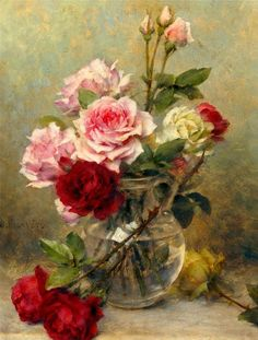 Gustave Bienvêtu (ca.1875-1914) - Still life with roses.