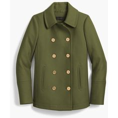 J.Crew The 2008 Andover Peacoat (13.830 RUB) ❤ liked on Polyvore featuring outerwear, coats, green coat, green pea coat, pea jacket, j crew coats and leather-sleeve coats