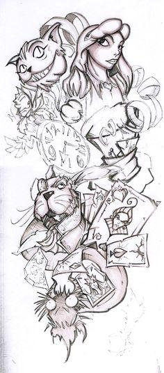 Half+Sleeve+Tattoo+Drawings | WIP - Alice Half Sleeve by Cogitat