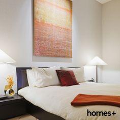 #bedroom #contemporary #modern #artwork #side #table #throw #cushion #pillow #lamp #orange #white #interior #design #decor #homes #house #style #homesplusmag Table Throw, Contemporary Style Homes, Cushion Pillow, Cushions, Pillows, House And Home Magazine, Modern Artwork, Interior Inspiration, Interior Design