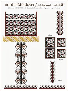 Model ie Dorohoi Folk Embroidery, Embroidery Patterns, Cross Stitch Borders, Cross Stitch Patterns, Palestinian Embroidery, Hama Beads, Textile Design, Beading Patterns, Blackwork