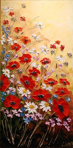 Original Contemporary Flower Painting Acrylic Palette Knife Impasto Floral…