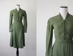 vintage 1940s olive wool dress by 1919vintage on Etsy, $114.00