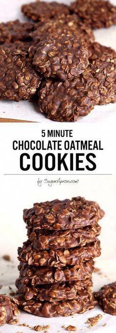 No Bake Chocolate Oatmeal Cookies - Sugar Apron - - I do promise these No Bake Chocolate Oatmeal Cookies made with peanut butter, oatmeal and cocoa are the quickest, tastiest, no bake cookies you'll ever eat though! Kids absolutely love them. Chocolate Chip Cookies, Oatmeal No Bake Cookies, Chocolate Cookie Recipes, Chocolate Chips, Chocolate Butter, Oatmeal Cupcakes, Breakfast Cupcakes, Quick Cookies, Super Cookies