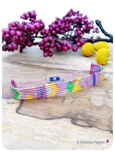 Micro macrame miyuki delicas bracelet / Indian style & Bollywood colors.   ©…