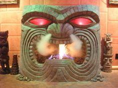 Build a Cool Tiki Fireplace. How to make a tiki fireplace for your tiki bar or lounge. Tiki Art, Tiki Tiki, Tiki Decor, Outdoor Decor, Tiki Lounge, Hawaiian Tiki, Tiki Room, Diy Design, Interior Design