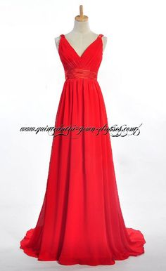 Red V-Neckline Plus Size Formal Evening Dress 2132
