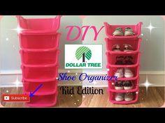 Kids Shoe Organization Diy Dollar Stores 46 Ideas For 2019 Kids Shoe Organization, Dollar Tree Organization, Diy Shoe Storage, Bedroom Organization Diy, Shoe Storage Dollar Tree, Storage Ideas, Dresser Organization, Closet Storage, Diy Makeup Organizer