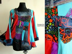 L/XL Rainbow Tunic Patchwork Top Upcycled Denim Upcycled XL Boho Gypsy Top Patchwork Denim Top Gypsy Tunic Hippie Tunic Embroidered Denim