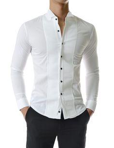 (UNLS13) Stretchy Tuxedo Wing Collar Square Pintuck Long Sleeve Dress Shirts