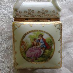 Porcelain trinket box from Japan Vintage porcelain Victorian