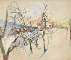 Anton Mahringer, Obstgarten im Winter, 1945, oil, 61 x 72 cm Snow Art, Anton, Contemporary Art, Landscape, Abstract, Winter, Trees, Painting, Modern