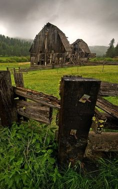 Old Barns, Fence  Storm Cloud Sky   ..rh