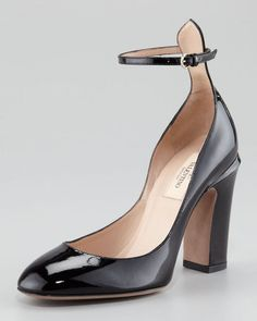 ShopStyle: Valentino Patent Thick-Heel Ankle-Wrap Pump