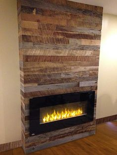 10 Contemporary Farmhouse Fireplace for Small Living Room - If you have a small living room, putting together a set of themed furniture might be quite a challenge. Find the solution in these farmhouse fireplace ideas. Reclaimed Wood Fireplace, Wood Fireplace Surrounds, Fireplace Tv Wall, Bedroom Fireplace, Farmhouse Fireplace, Faux Fireplace, Fireplace Remodel, Living Room With Fireplace, Fireplace Design