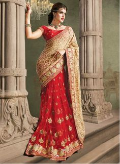 Ravishing Red And Beige Embroidery Net Saree