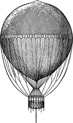 Old Steampunk Hot Air Balloon Drawing – Click for larger printable image @ Vintage Fangirl