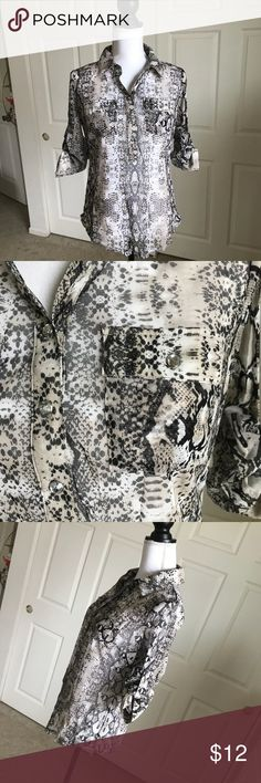 """INC International Concepts Snake Print Top Shirt Beautiful snake print shirt by INC International Concepts! Womens size Medium. Brown, black and ivory. Half Button down front with roll cuff/button on sleeve   Approximate measurements:  Chest - 40""""  length - 26""""  sleeve length - 14"""" rolled   All reasonable offers will be considered.   Comes from my clean, smoke/pet free home.    Thanks for looking! INC International Concepts Tops Blouses"""