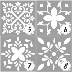 Template or stencil with tile designs and mandalas - Tile stencil - Mandala painting - stencil for paint Mandala Stencils, Mandala Painting, Stencil Painting, Ceramic Painting, Stenciling, Painted Ceramic Plates, Stencil Decor, Stencil Templates, Tile Patterns