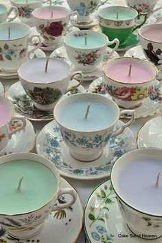 i LOVE the idea of candles in pretty china but mine is too nice to experiment with this! Maybe thrift shop finds would be better. Teacup Candles, Diy Candles, Natural Candles, Scented Candles, Tea Party Bridal Shower, Tea Party Wedding, Teacup Crafts, Thrift Shop Finds, Craft Stalls