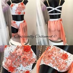 White and Apricot 2 piece lyrical dance by ClassicallyCostumed