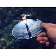 Solar Fire Starter The Solar Spark Lighter is a unique pocket-size solar fire starter and lighter. It is a stainless steel parabolic mirror, like the one used to light the Olympic torch. It is designed to focus the sun's radiant energy to a precise focal point that can reach hundreds of degrees! This great solar fire starter is perfect for backpacking, boating, hiking and as a great addition to a survival tool kit.