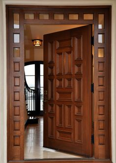 Gogeous Brown Wooden Main Entry Door Idea with Woods and Plaid Motive