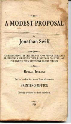 A Modest Proposal - Jonathan Swift  (click image to read on Project Gutenberg)