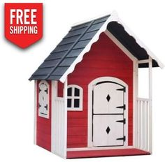 Keezi Kids Cubby House Wooden Playhouse Outdoor Cottage Children Play House Toys - 9350062196250 For Sale, Buy from Cubby Houses collection at MyDeal for best discounts. Kids Cubby Houses, Kids Cubbies, Play Houses, Wooden Outdoor Playhouse, Childrens Playhouse, Barn Playhouse, Waterproof Paint, Timber Roof, Wooden Cottage