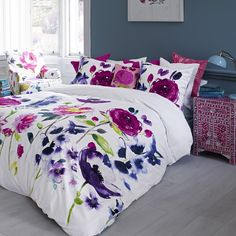Floral duvet cover Taransay Multi by Bluebellgray Duvet Covers, Duvet Cover Sets, Bluebellgray, Bedroom Inspirations, Purple Duvet Cover, Home Room Design, Bed, Super King Duvet Covers, House Beds