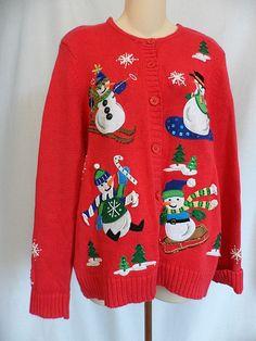 Tiara International Christmas Collection Ugly Sweater Cardigan Snowmen Large  #TiaraInternational #Cardigan