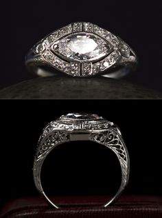 1920s Art Deco 0.96ct Old Marquise Diamond (E-F VS2) Ring, 0.24ctw Single Cut Diamonds, Platinum Filigree, $7995 Proof that the East-West marquise is not a new idea.