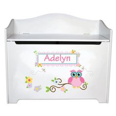 Personalized Owl Toy Box Childrens Toybox Bench boys by MyBambino