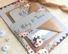 Rustikale Floral Wald Hochzeitseinladung mit von NessaNoelle