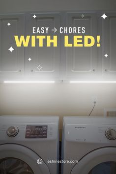 Do you want to improve the entire look and feel of your laundry room in less than an hour?The solution to all of these problems is simple, hidden lighting ⚡. There's no wiring involved. Just plug it in, and you're set. Our lights even include motion-sensitive activation.Any time you need more light, simply wave your hand 👋🏻 and any time you need more lighting solutions, simply go to eshinestore.com to see our rechargeable kits 😉 Hidden Lighting, Task Lighting, Laundry Room Lighting, Kitchen Lighting, Led Light Kits, Under Cabinet, Lighting Solutions, Wave, Home Appliances