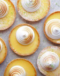Lemon Meringue Tartlets recipe by Topless Baker Baker Recipes, Tart Recipes, Sweet Recipes, Dessert Recipes, Lemon Desserts, Mini Desserts, Meringue Desserts, Plated Desserts, Lemon Meringue Tartlets