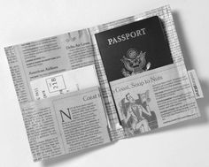 Recycled Newspaper Passport Holder  Keep your papers in the papers. This handy holder has pockets on both sides, one for your passport, one for tickets, boarding passes or other documents. Made from 100% recycled newspapers. Several layers of newsprint treated with a biodegradable cool-press laminate make the holder sturdy and water resistant. Print design will differ with the news of the day. Clean with a damp cloth. Handmade in the USA.