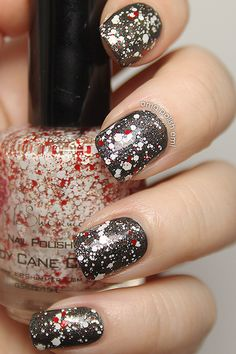 KBShimmer 1 coat of Candy Cane Crush over China Glaze Stone Cold | from OMG Polish 'em!