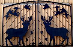 Double Gate with Deer, Ducks, and Quail. Call or email to discuss your custom gate. Farm Entrance, Gate Designs Modern, Custom Gates, Farm Gate, Double Gate, Metal Gates, Deer Silhouette, Driveway Gate, Entrance Gates