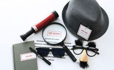 Secret agent kit so kit for a gift or favors or props for a spy secret agent birthday party