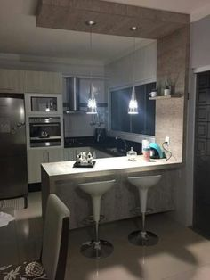 modern kitchen design with integrated bar counter for a small condo rh pinterest com