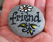 Friend / Painted Rock / Sandi Pike Foundas / Cape Cod Sea Stone